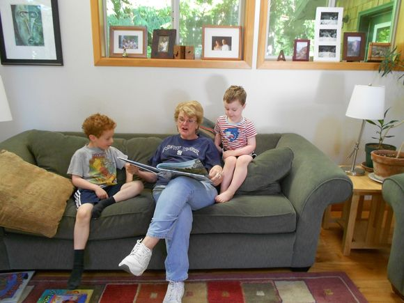 Postcards from Paradise Reading With Grandsons