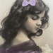 Beautiful-young-girl-with-bow-in-her-hair-Vintage-Postcard