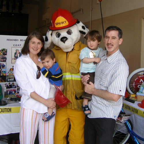 Tony, Gretchen, Henry and Fritz at the Fire Station